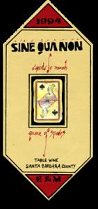 Label for Queen of Spades - Sine Qua Non Wines